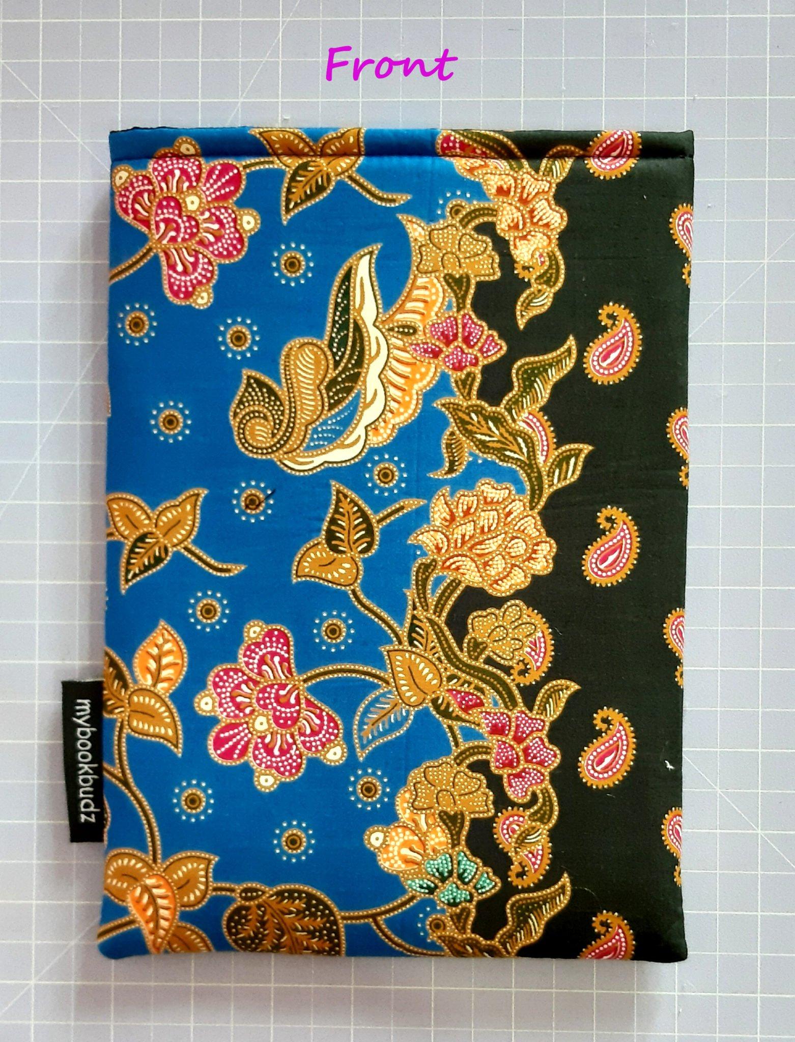 Booksleeve – Blue and Black Batik – Front