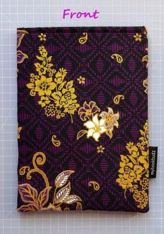 Booksleeve - Purple Batik with Golden Flower